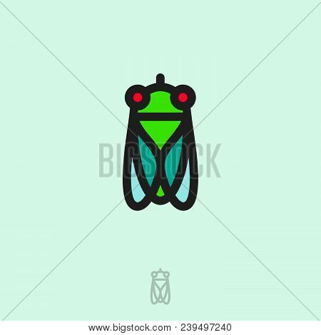 Fly Flat Logo. Fly Icon. Linear Logo. Green Small Fly On Light Background. Monochrome Option.