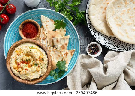 Arabic Chickpea Hummus And Pita Bread. Traditional Middle Eastern Or Arabic Food. Meze Party Plate.