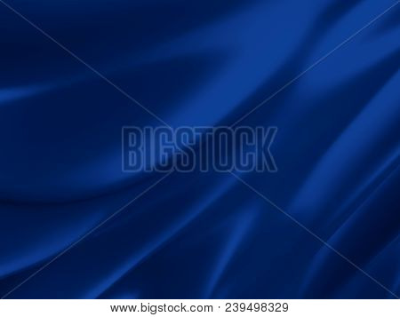 Beautiful Blue Silk. Drapery Textile Background. Abstract Soft Elegant Satin