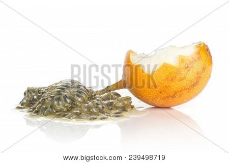 Giant Grenadilla One Hollow Half And Juicy Flesh With Seeds Isolated On White Background Sweet Yello