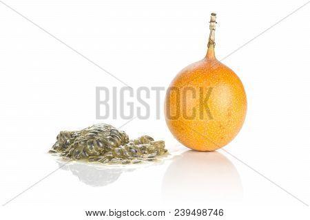 Giant Grenadilla Set One Whole And Juicy Flesh With Seeds Isolated On White Background Sweet Yellow
