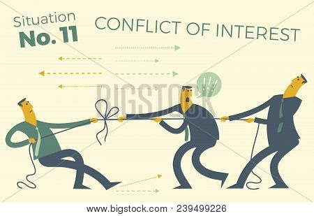 Business Infographics With Illustrations Of Business Situations. People Pull The Rope, Conflict Of I