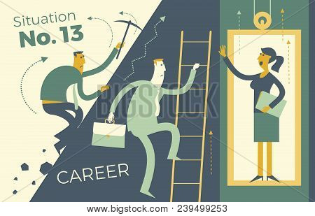 Business Infographics, Business Situations. Career Ladder, Service Elevator, Workers Strive Upward,