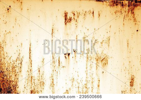 Grungy Rusted Metal Surface In Orange Tone. Abstract Background And Texture.