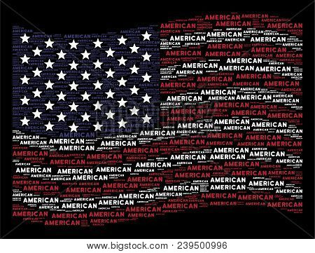 American Text Items Are Arranged Into Waving American Flag Stylization On A Dark Background. Vector