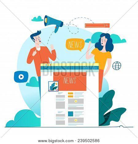 News Update, Online News, Newspaper, News Website Flat Vector Illustration. News Webpage, Informatio