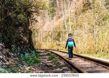 Railroback View Of Small Boy Walking Ad Tracks Go Through Autumn Mountain Forest