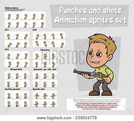 Cartoon Boy Character Big Vector Animation Sprites Sheet Set. Punches, Hit And Kick. Combat Stance.