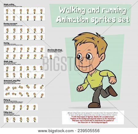 Cartoon boy character big vector animation sprites sheet set. Walking and Running. Jump and Flip. Slowdown. Falling up and down. Layered for quick edit. Animation for game, cartoon. poster