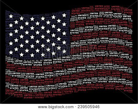 United States Text Items Are Grouped Into Waving United States Flag Stylization On A Dark Background