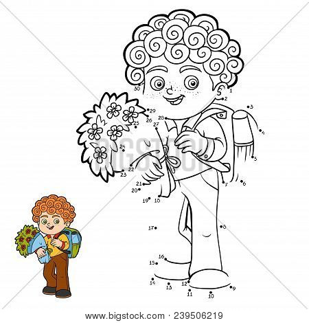 Numbers Game, Education Dot To Dot Game For Children, Schoolboy With Flowers