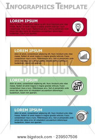 Infographic Process Visualization Template, Abstract Vector With Four Strip Elements In Different Co