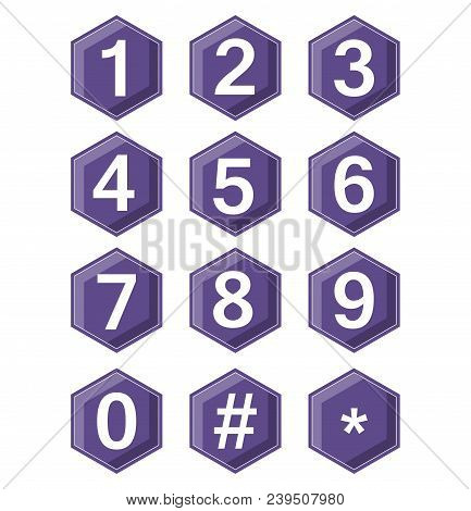 Artistic Number Set On Ultraviolet Hexagonal Buttons. Hash Tag And Star Symbole Included. Buttons Wi