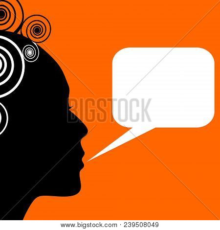 Lady With Rectangle Callout Box, Profile Silhouette With Curly Haircut On Orange Background. Blank W