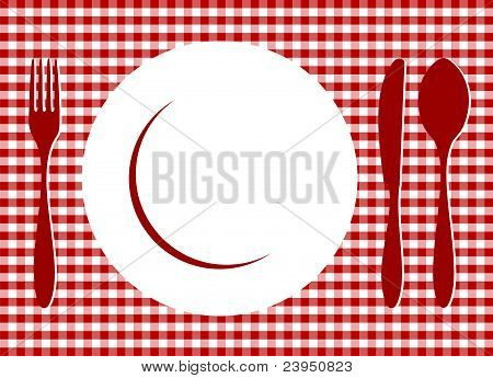 Place Setting On Red Tablecloth