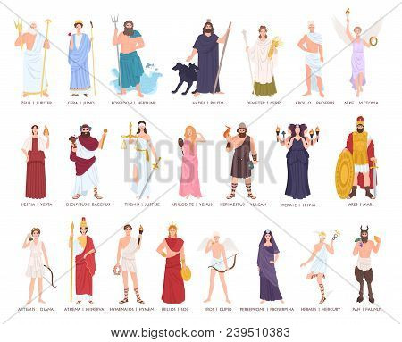 Collection Of Olympic Gods And Goddesses From Greek And Roman Mythology, Mythological Creatures. Mal