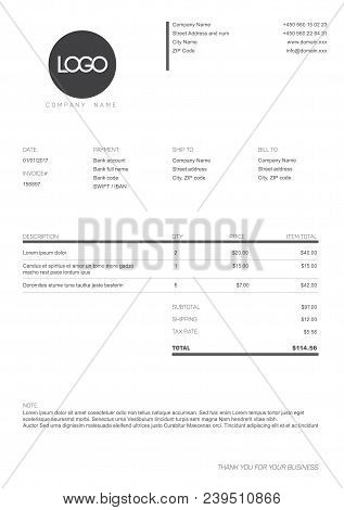 Vector Minimalist Invoice Template Design For Your Business Company - Black And White Version