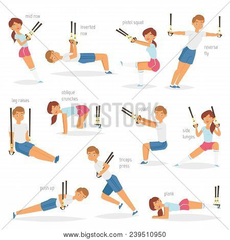 Fitness Trx Exercises Vector Sportsman Character Woman Or Man Exercising In Gym For Workout Or Sport