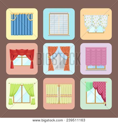 Window Curtains And Room Blinds Set. Jalousie For House Or Creative Home Interior Vector Illustratio