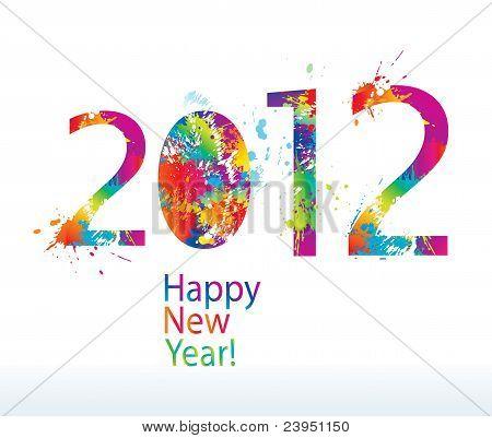 New Year's kaart 2012 met kleurrijke Drops en Sprays op een witte achtergrond. Vectorillustratie.