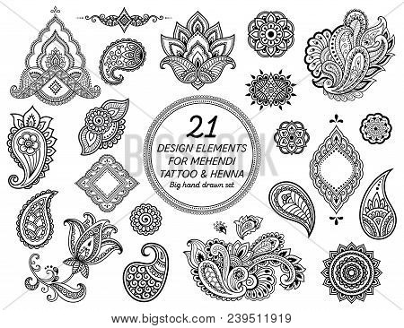 Big Set Of Mehndi Flower Pattern For Henna Drawing And Tattoo. Decoration In Ethnic Oriental, Indian