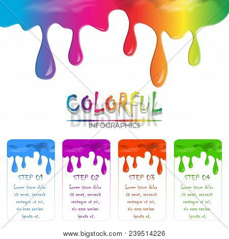 Paint Colorful Liquid Flowing And Dripping On White Isolate Background With Copy Space. Rainbow Colo