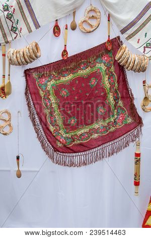 Traditional Russian Handkerchief, Painted Wooden Spoons On A White Background