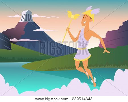 Hermes. Greek God Of Trade. Vector Mythology Man With Wing On Foots, Roman Winged Male Illustration