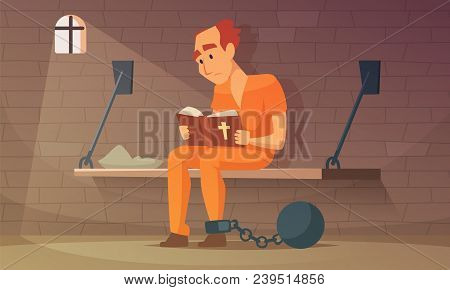 Prisoner Sitting In Cell And Reading Bible. Vector Robber Guy, Illustration Of Criminal Person In Ja