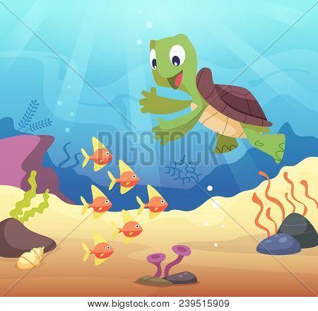 Sea Underwater Background With Cartoon Turtle. Under Water Ocean, Tropical Terrapin Wildlife. Vector