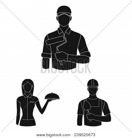 People Of Different Professions Black Icons In Set Collection For Design. Worker And Specialist Vect