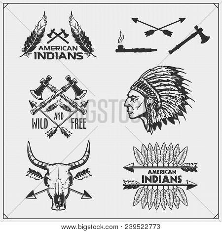 Set Of American Indian Labels, Badges, Emblems And Design Elements. Vector.