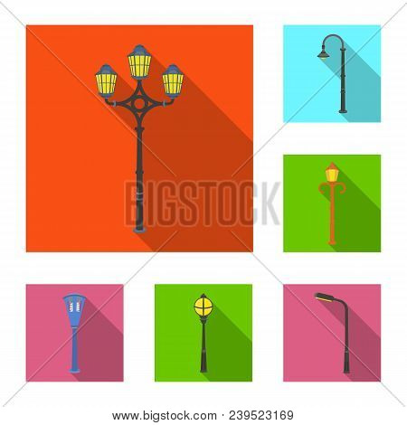 Lamp Post Flat Icons In Set Collection For Design. Lantern And Lighting Vector Symbol Stock  Illustr