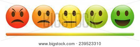 Vector Emotion Feedback Scale On White Background. Angry, Sad, Neutral And Happy Emoticon Set. Gloss
