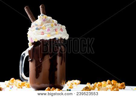 Chocolate Milkshake With Ice Cream And With Whipped Cream, Cookies, Waffles, Served In Glass Mason J