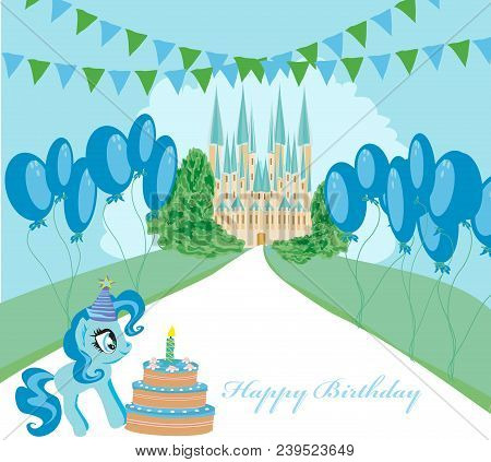 Card With Unicorn And Birthday Cake , Vector Illustration