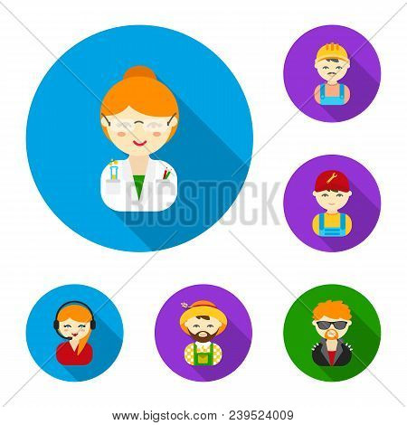 People Of Different Professions Flat Icons In Set Collection For Design. Worker And Specialist Vecto