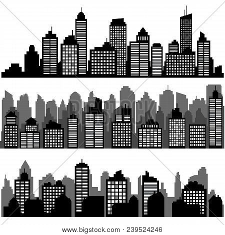 Vector Set Of Different Black Horizontal Night Cityscape. Vector City Silhouettes, Element For Desig