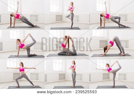 Collage Of Different Fitness Exercises. Slim Blonde Woman Practicing Yoga In Various Poses At Gym. A