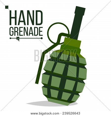 Grenade Vector. Big Bang. Green Classic Hand Grenade Bomb. Army Object. Battle Explosion. Artillery