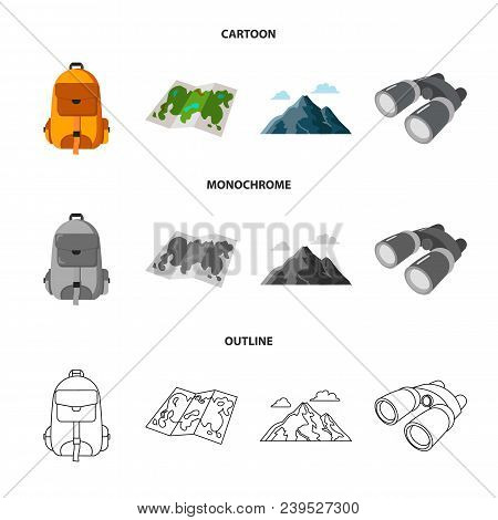 Backpack, Mountains, Map Of The Area, Binoculars. Camping Set Collection Icons In Cartoon, Outline,