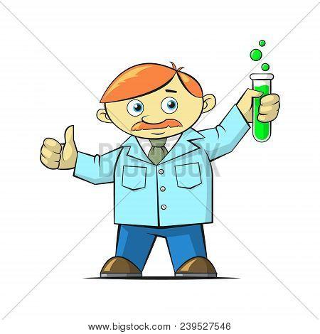 Flat Art Colored Cartoon Illustration Of A Scientist