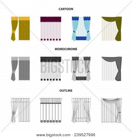 Curtains, Drapes, Garters, And Other  Icon In Cartoon, Outline, Monochrome Style. Textiles, Furnitur