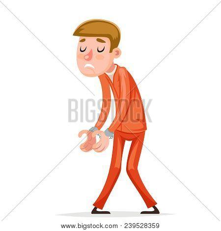 Prisoner Arrestee Caught Handcuff Burglar Robber Thief Scared Guy Character Icons Isolated Cartoon D