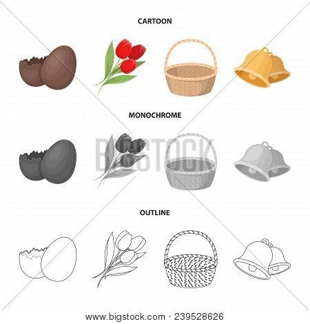 Chocolate Egg, Bells, Basket And Flowers.easter Set Collection Icons In Cartoon, Outline, Monochrome