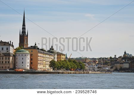 Stockholm, Sweden - July 2014: Cityscape View Of Stockholm's Old Town In Famous Gamla Stan Area Dens