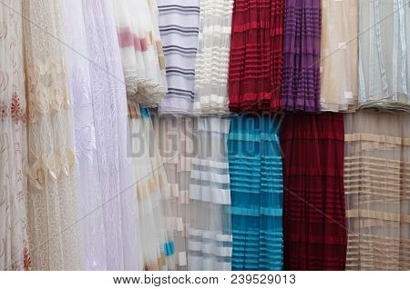 Curtains variety selection drapes shop store lot retail many