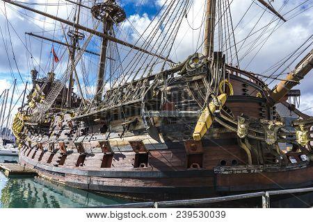 Genoa, Italy - March 9, 2018: Galleon Neptun In Porto Antico In Genoa, Italy. It Is A Ship Replica O