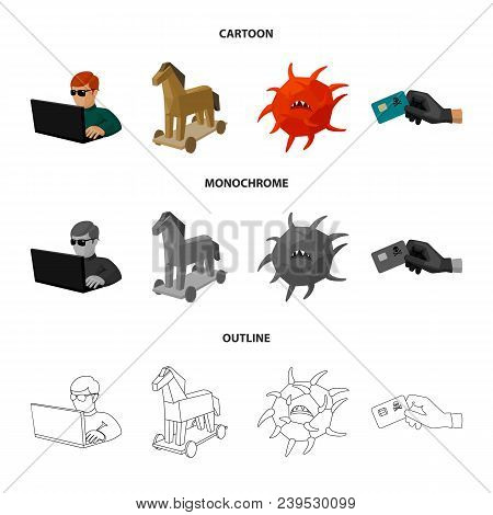 Hacker, Hacking, System, Internet .hackers And Hacking Set Collection Icons In Cartoon, Outline, Mon