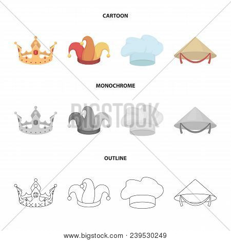 Crown, Jester Cap, Cook, Cone. Hats Set Collection Icons In Cartoon, Outline, Monochrome Style Vecto